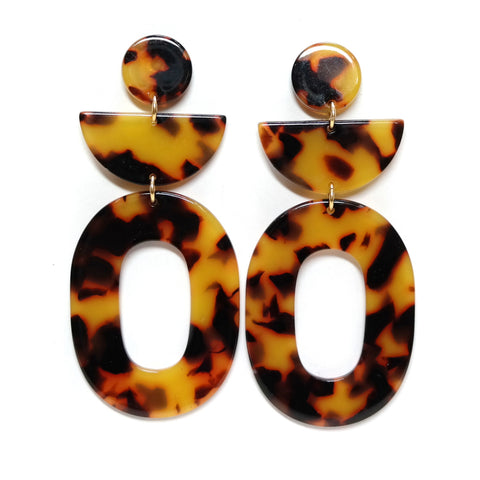 Leto acetate tortoiseshell patterned earrings - bold geometric design with circle, semicircle and hoop pieces