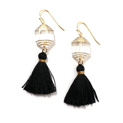 Biba Tassel Earrings with deco beads, black tassel drop and gold details