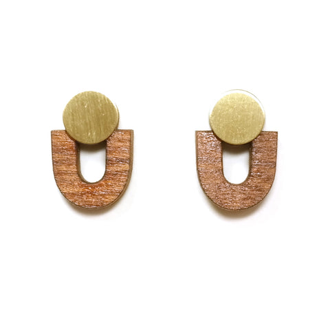wolf and moon - jean stud earrings - brass wood