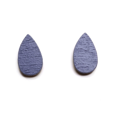 Wolf and Moon blue painted wood rain drop teardrop shaped stud earrings on backing card