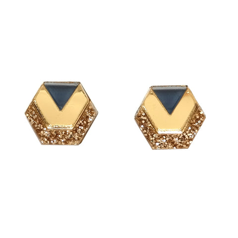 little hex acrylic perspex hexagon stud earrings in gold glitter navy blue
