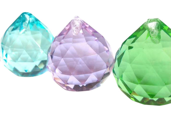 Set of 3 Lilac, Spring Green, Light Aqua Chandelier Crystal Faceted Ball - ChandelierDesign