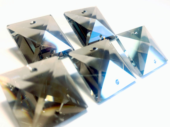 Satin Grey Square 22mm Chandelier Crystals Glass Beads Pack of 6 - ChandelierDesign