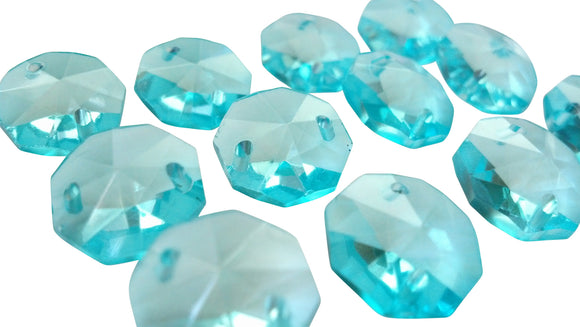Light Aqua 14mm Octagon Beads Chandelier Crystals 2 Holes - ChandelierDesign