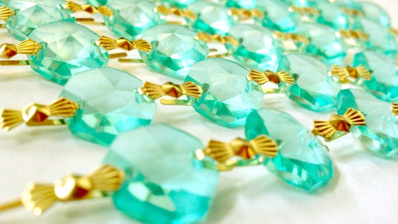 Light Aqua Chandelier Crystal Garland Yard of Prisms - ChandelierDesign