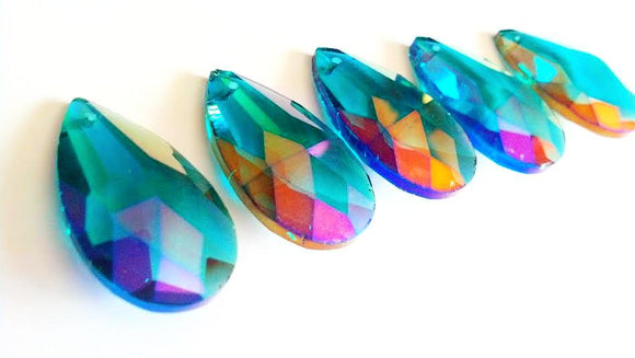 Iridescent Caribbean Teal Green 38mm Teardrop Chandelier Crystals - ChandelierDesign