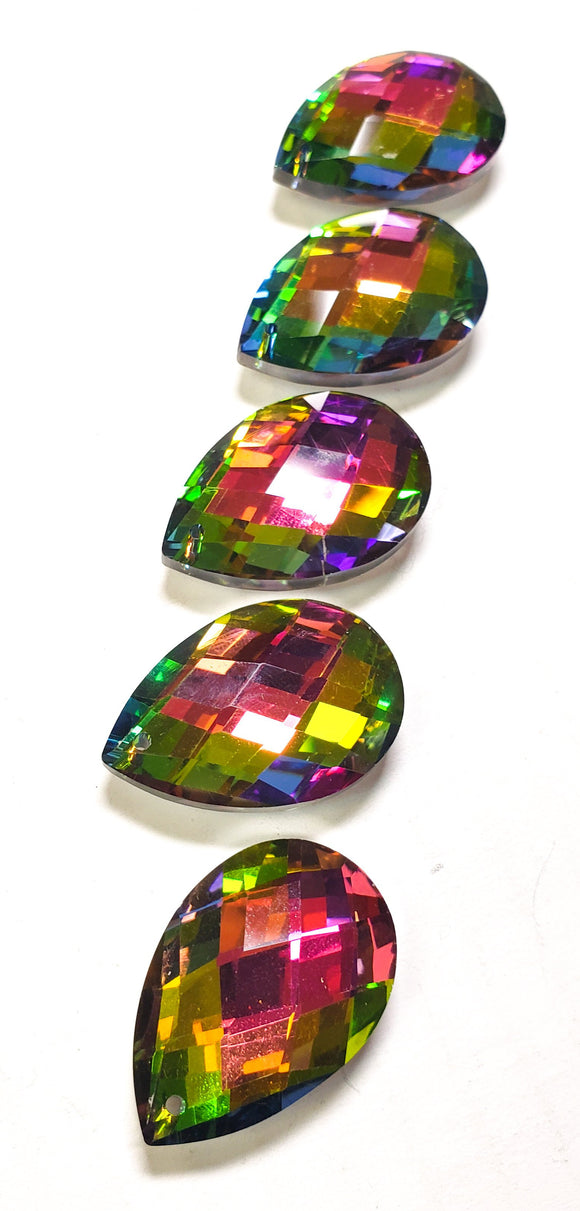 Vitrail Rainbow Diamond Cut Teardrop Chandelier Crystals, 38mm Pack of 5 - ChandelierDesign