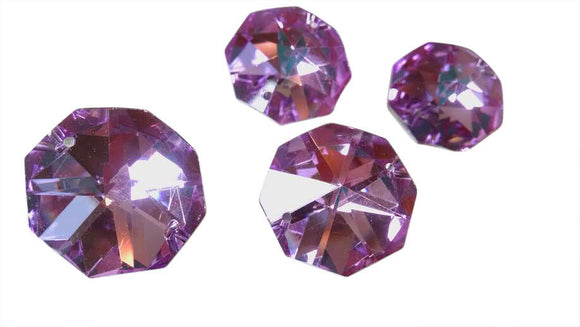 Metallic Lilac Octagon Beads 30mm Chandelier Crystals, Pack of 5 - ChandelierDesign