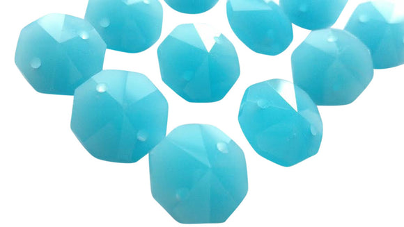 Opaline Aqua 14mm Octagon Beads Chandelier Crystals 2 Hole - ChandelierDesign