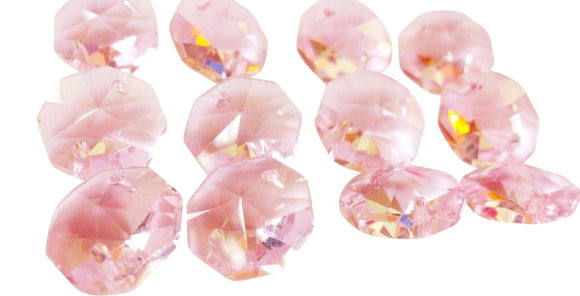 Pink 14mm Octagon Beads Chandelier Crystals 2 Holes Lead Crystal - ChandelierDesign