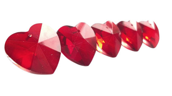 Red Heart Chandelier Crystals 28mm Pack of 5 - ChandelierDesign