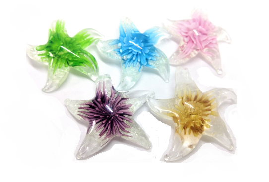 Glass Lampwork STARFiSH Pendants, Purple Aqua Pink Green Gold - ChandelierDesign