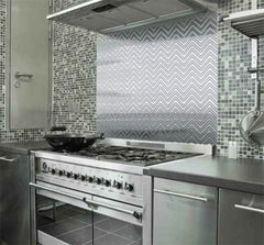 Chevron Stainless Steel Kitchen Backsplash Application - SpectraMetal