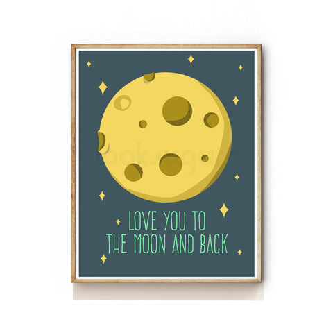 OUTER SPACE NURSERY ART PRINT - MOON - LUNAR