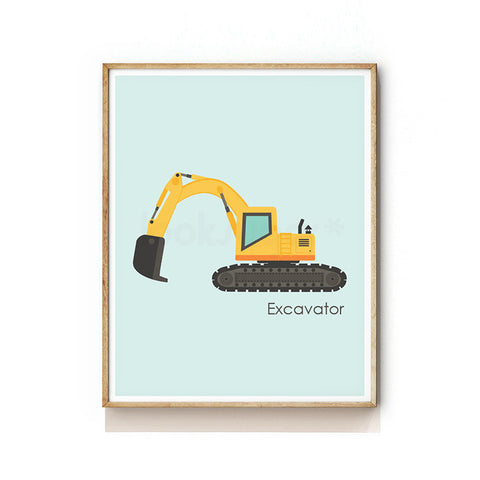 CONSTRUCTION VEHICLE NURSERY ART PRINT - EXCAVATOR / DIGGER