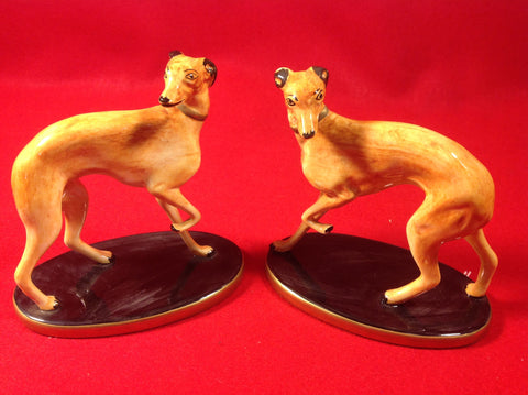 Chelsea House Handpainted Whippets  Italy ceramic porcelain set 2