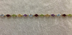 Ladies Multi Gemstone and Gold Bracelet