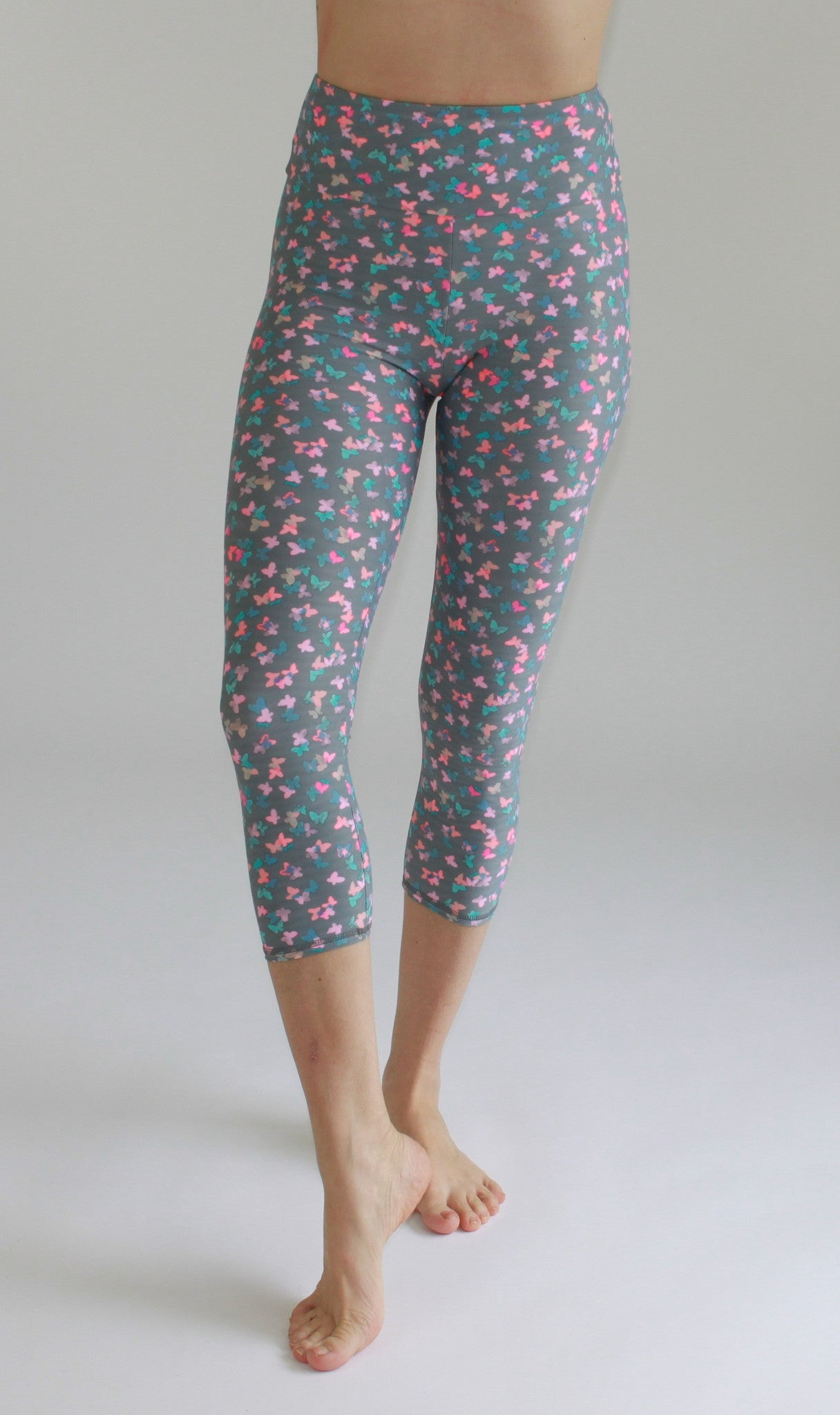 High-Waisted cropped Leggings   Butterfly Print