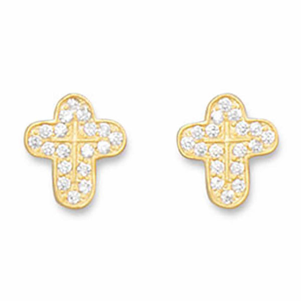 14 Karat Gold CZ Cross Earrings-Earrings-Here Comes The Bling™