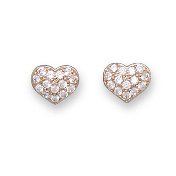 14 Karat Rose Gold CZ Heart Earrings-Earrings-Here Comes The Bling™