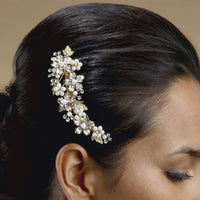 Freshwater Pearl and Crystal Bridal Hair Comb with Brushed Gold Leaves