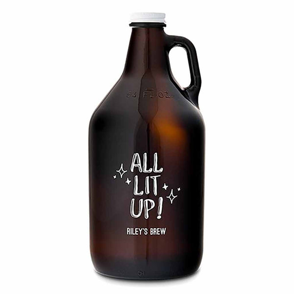 """All Lit Up"" Personalized Amber Glass Beer Growler-Growler-Here Comes The Bling™"