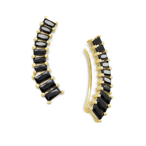Black CZ 14k Gold Climber Earrings-Earrings-Here Comes The Bling™