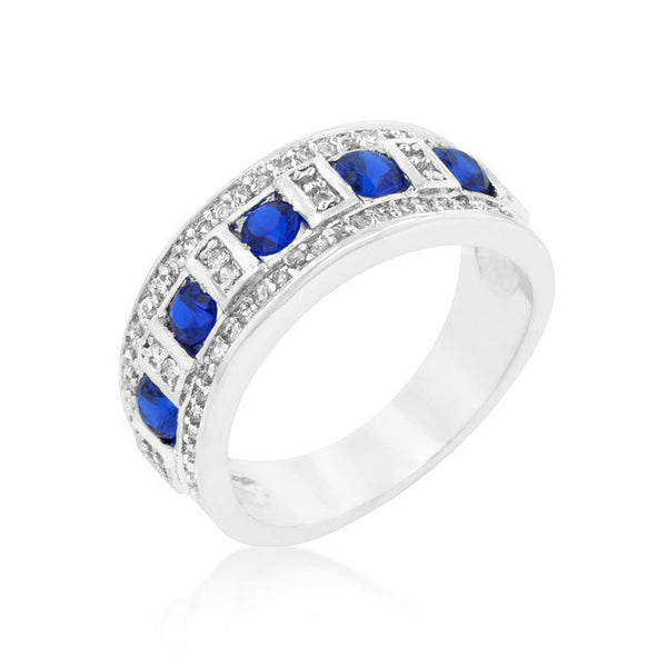 Blue and Clear Encrusted Silvertone Ring-Rings-Here Comes The Bling™