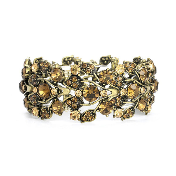 Bold Brown Crystal Vine Stretch Bracelet-Bracelets-Here Comes The Bling™
