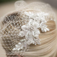 Bold Crystal Lace Applique Bridal Veil with French Net Birdcage Blusher & Scattered Crystal Edge
