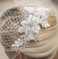 Bold Crystal White Lace Applique Bridal Veil with French Net Birdcage Blusher & Scattered Crystal Edge-Birdcage-Here Comes The Bling™