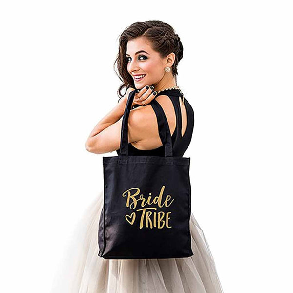 Bride Tribe Black Canvas Tote Bag (Available in Gold or Silver)-Tote Bags-Here Comes The Bling™