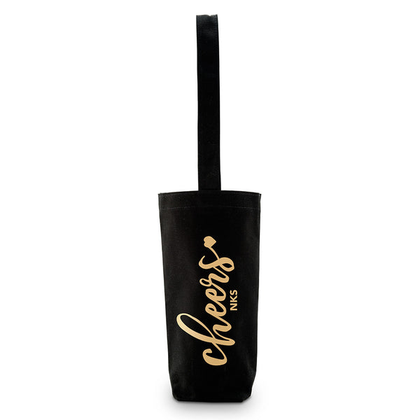 """Cheers"" Canvas Wine Tote Bag in Black-Wine Bags-Here Comes The Bling™"