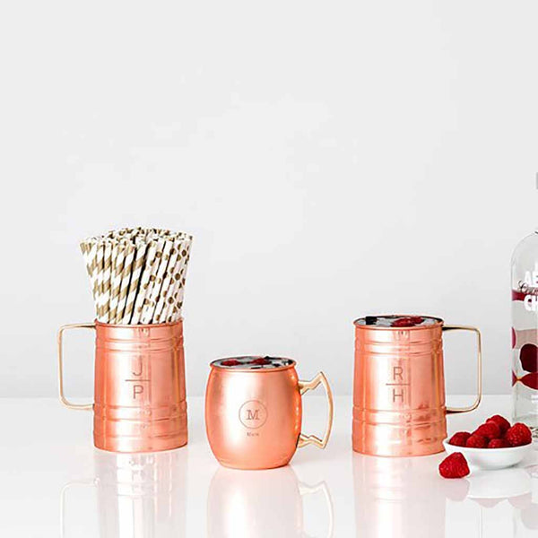Circle Monogram Copper Moscow Mule Mug-Drinkware-Here Comes The Bling™