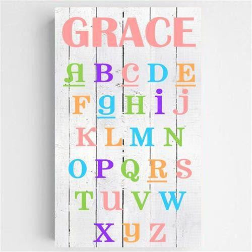 Colorful ABC Personalized Canvas Sign-Sign-Here Comes The Bling™
