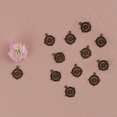 Compass Favor Charms (Pack of 12)-Embellishments-Here Comes The Bling™