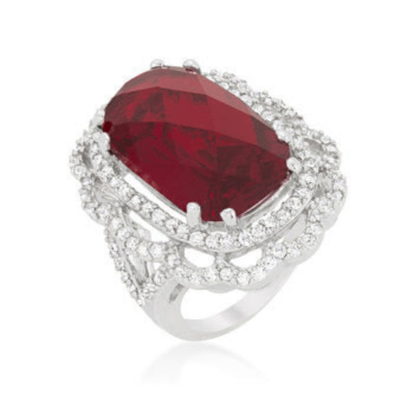 Crest Cocktail Ring with Ravishing Red CZ-Rings-Here Comes The Bling