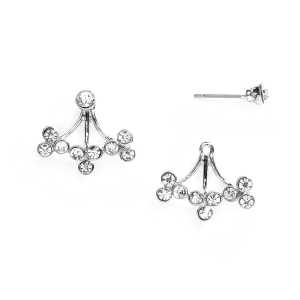 Crystal Sprigs Silver Ear Jackets for Proms and Weddings-Earrings-Here Comes The Bling™