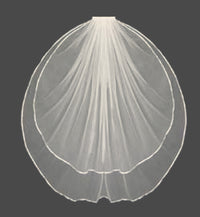 Custom Satin Ribbon Edge Veil ( Made to Order)-Veils-Here Comes The Bling™
