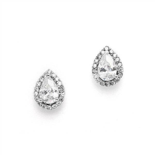 CZ Pear-Shaped Studs with Pave Frames-Earrings-Here Comes The Bling™