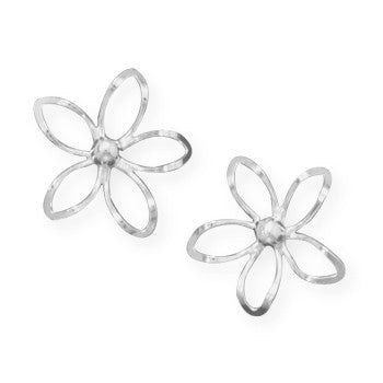 Diamond Cut Flower Post Earrings-Earrings-Here Comes The Bling™