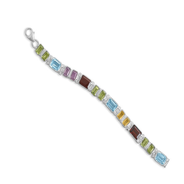 Faceted Multistone Colorful Tennis Bracelet-Bracelets-Here Comes The Bling™