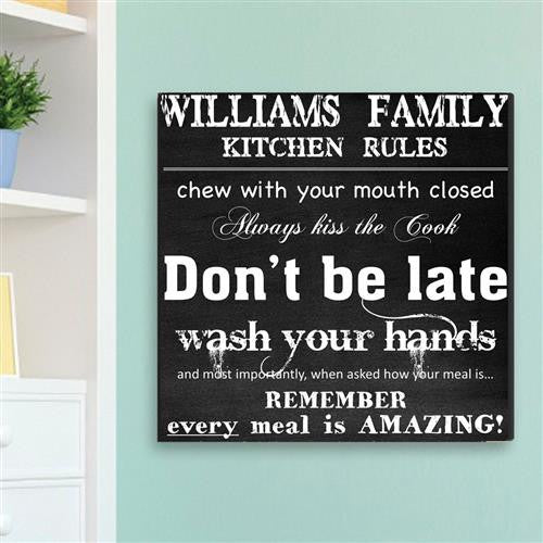 Family Kitchen Rules Canvas Sign-Sign-Here Comes The Bling™
