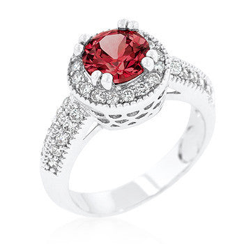Garnet Halo Engagement Ring-Rings-Here Comes The Bling™