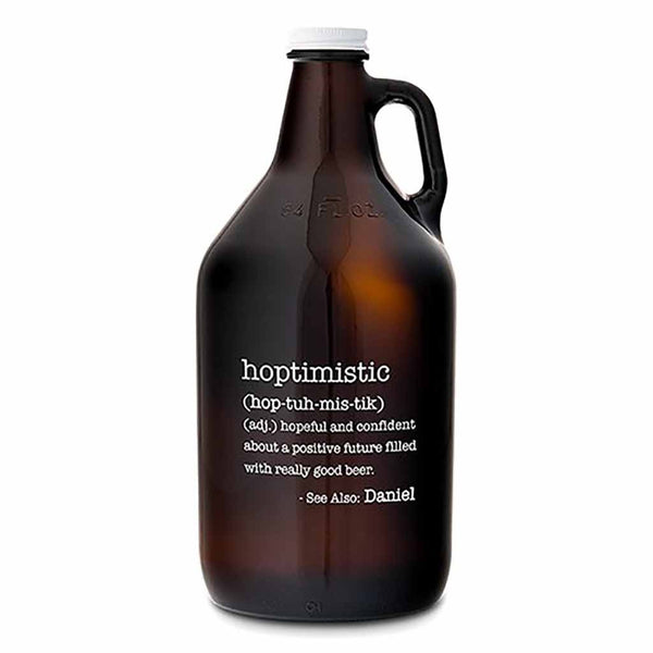 """Hoptimistic"" Personalized Amber Glass Beer Growler-Growler-Here Comes The Bling™"