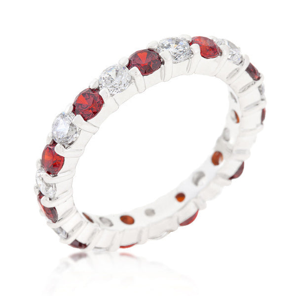 Mini Jessica Band with Garnet Cubic Zirconia-Rings-Here Comes The Bling™