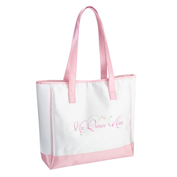 """Ms Quince Anos"" Pink Tote Bag-Tote Bags-Here Comes The Bling™"