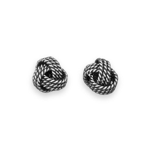 Oxidized Textured Love Knot Earrings-Earrings-Here Comes The Bling™