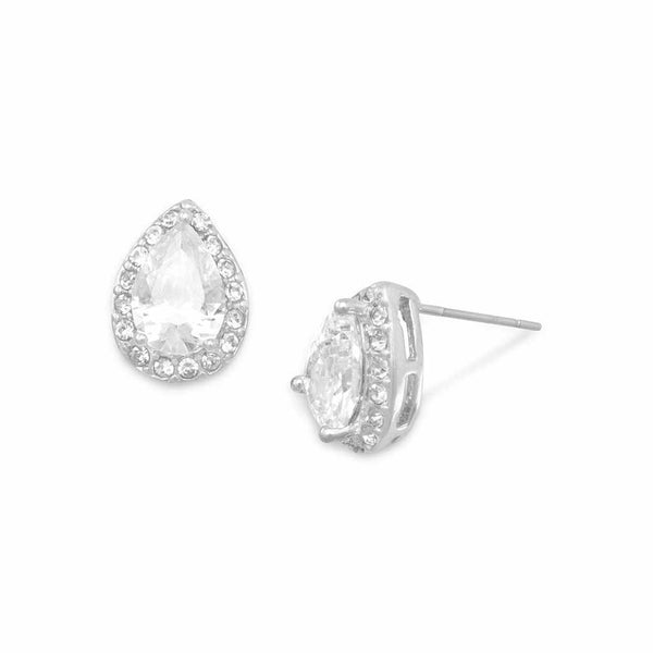 Pear CZ and Crystal Halo Stud Earrings-Earrings-Here Comes The Bling™