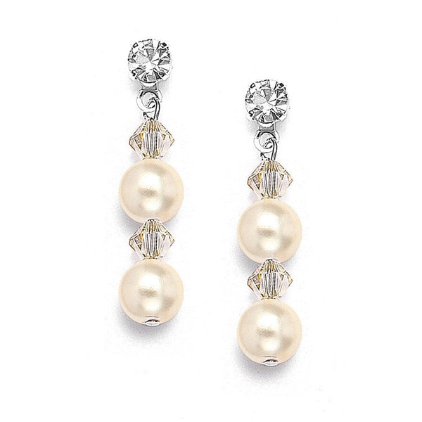 Pearl & Crystal Dangle Earrings-Earrings-Here Comes The Bling™